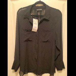 Zara long sleeve button up blouse